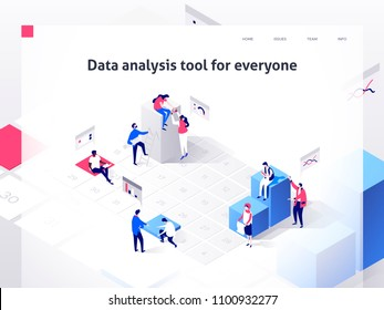 People in a team build a time schedule and interact with graphs. Landing page template. 3d isometric vector illustration