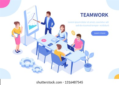 \rPeople team concept. Can use for web banner, infographics, hero images. Flat isometric vector illustration isolated on white background.