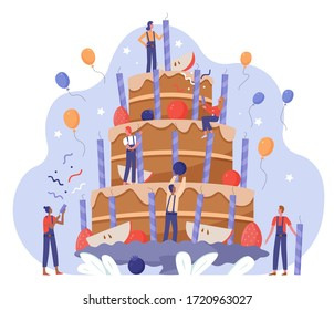 People team decorate birthday cake vector illustration. Cartoon tiny flat characters working together on decoration big birthdate gift cake with cream, candles, berry and fruit decor isolated on white