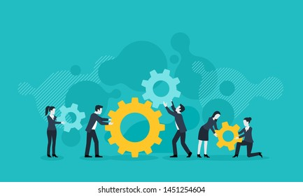 People team with gears - business management and working process conceptual illustration - vector concept