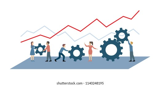 People team with gears and graph - vector concept — collective work, process, perfomance and good results