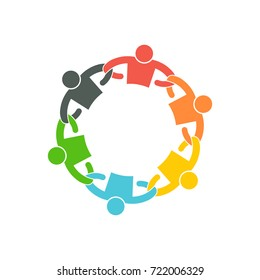 People Team with Linking Arms. Logo Vector Illustration