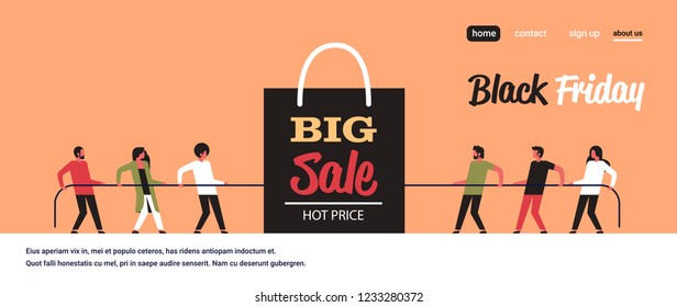 people team pulling opposite ends rope shopping bag big sale black friday super sale holiday promotion discount concept tug of war flat horizontal copy space vector illustration
