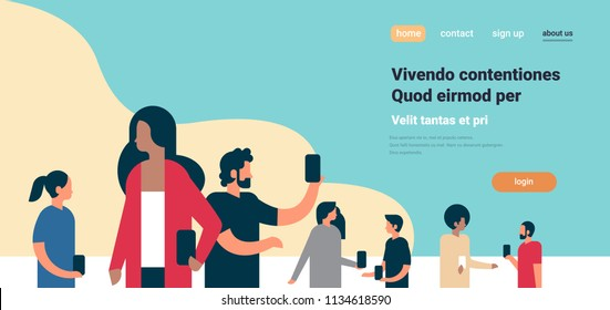 people team using smartphones doing selfie mix race business group online communication concept flat copy space horizontal vector illustration