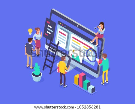 People team work together in web industry. Can use for web banner, infographics, hero images.  Flat isometric vector illustration isolated on white background.