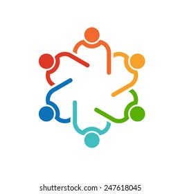 People Teamwork logo .Concept group of connected people , helping each other.Vector icon