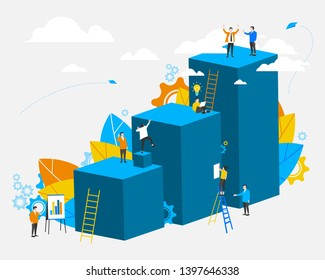 People. Template. Cooperation. Business concept. Way to success. Career growth. Vector model, flat design style. Team, teamwork, partnership and unity. All elements are isolated.EPS 10.