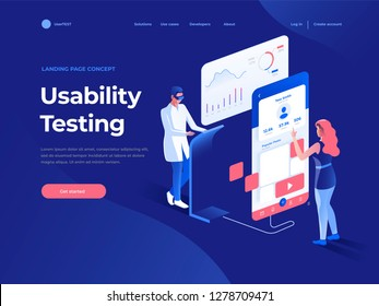 People testing the interface and usability of a mobile application on the dark blue backgroung. 3D Isometric illustration. Landing page concept.
