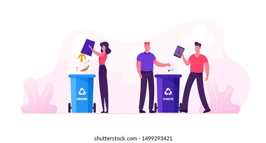 People Throw Garbage into Containers for Organic and E-waste Litter Bins with Recycle Sign. City Dwellers Collecting Trash. Recycling Pollution Ecology Protection. Cartoon Flat Vector Illustration