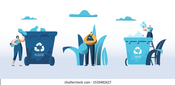 People Throw Garbage into Containers for Plastic and Paper Waste Litter Bins with Recycle Sign. City Dwellers Collecting Trash. Recycling Pollution Ecology Protection. Cartoon Flat Vector Illustration