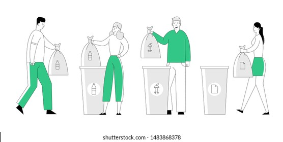 People Throw Garbage into Recycling Containers and Bags. Men and Women Collecting Trash, Recycle Environmental Plastic Pollution Problem, Ecology Protection, Cartoon Flat Vector Illustration, Line Art