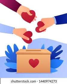 People throw hearts into a box for donations. Hearts in hand. Donation box. Donate, giving money and love. Modern vector illustration, flat style design with gradient.