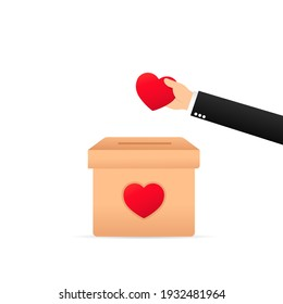 People throw hearts into a box for donations. Hearts in hand. Donation box. Donate, giving money and love. Vector on isolated white background. EPS 10