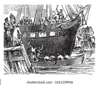 People Throwing the tea into the water,vintage line drawing or engraving illustration.