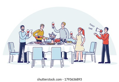 People toasting standing around holiday dinner table. Cartoon, group of friends, family or colleagues celebrate together corporate event or anniversary. Linear vector illustration
