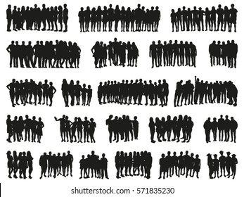 People Together. Big vector set of silhouettes