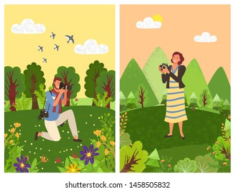 People tourist or paparazzi making professional shoots on photo camera in forest with trees and flowers. Vector man shooting birds in sky on photocamera