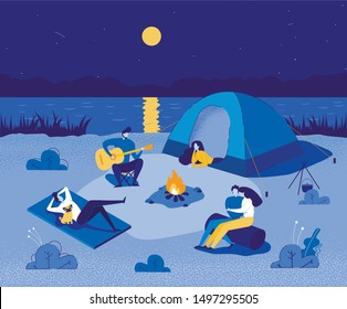 People in Touristic Camp near River with Tent. Travel, Backpacking Flat Cartoon Vector illustration. Concept of Hiking. Boy Playing Guitar near Campfire, Hugging Couple Sitting on Log.