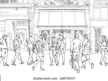 People and tourists in Bond street. London.. Sketch collection