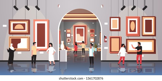 People tourists viewers in modern art gallery museum interior looking creative contemporary paintings artworks or exhibits flat horizontal