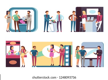 People at trade expo. Men and women at product demonstration stands and event booths on exhibition. Vector set
