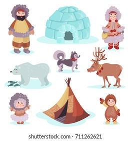 People in traditional eskimos costume and arctic animals set, life in the far north colorful vector Illustrations