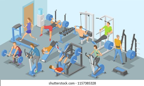 People and training apparatus in the gym, various types of physical exercises. Isometric flat vector illustration. Horizontal.