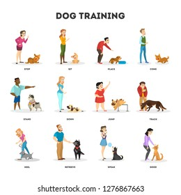 People training their pet dog set. Collection of happy puppy having fun. Good trainer outdoor. Isolated vector illustration in cartoon style