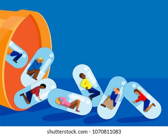 people trapped inside pill capsules that are being emptied from a pill bottle - prescription drug addiction concept