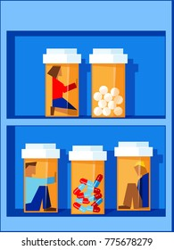 people trapped in pill bottles sitting on a shelf - an opioid addiction concept illustration