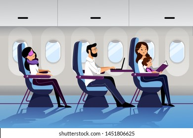 People travel by airplane in economy class. Vector flat cartoon illustration. Young mother travel with infant baby. Plane interior with sleeping and working passengers.