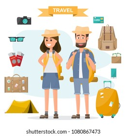 people travel. couple with backpack and equipment set go to travel on a vacation. Vector illustration flat design