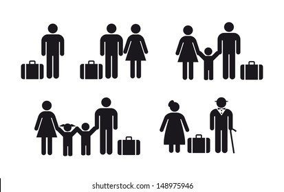 people travel icon - vector set