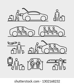 People travel icons. People travelling in car. Person loading luggage into a car trunk