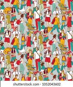 People travel luggage crowd seamless pattern.