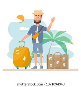 people travel. man with bag travel beach on a vacation. Vector illustration flat design on blue background