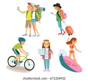 People traveling. Active summer sports.