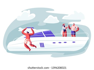 People Traveling on Luxury Yacht at Sea on Summertime, Happy Man Jump into Water, Loving Couple Drinking Beverage on Ship Deck and Sun Bathing. Summer Vacation, Cruise Cartoon Flat Vector Illustration