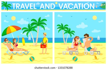 People traveling, relaxing on beach vector, couple drinking cocktails by seaside. Coastal relaxation couple laying on chaise longue, palm trees greenery