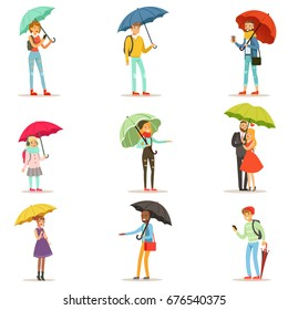 People with umbrellas. Smiling man and woman walking under umbrella colorful characters vector Illustrations isolated on white background