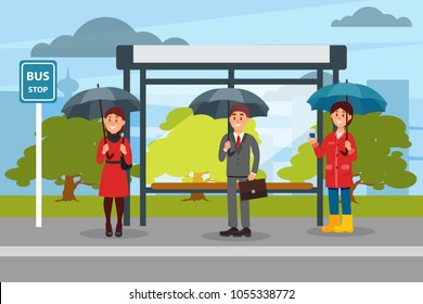 People with umbrellas waiting for bus at the bus stop vector ilustration