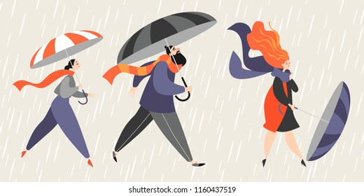 People with umbrellas are walking in the rain. Vector illustration in cartoon style