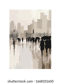 People under rain in a city - vector illustration  (Ideal for printing on fabric or paper, poster or wallpaper, house decoration)