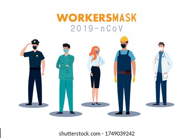 people with uniforms and workermasks design of Coronavirus 2019 nCov workers theme Vector illustration