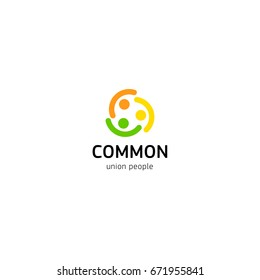People union vector logo. Common people logotype isolated template. Abstract symbol of connected humans.