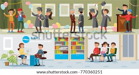 people university horizontal banners graduation celebration stock