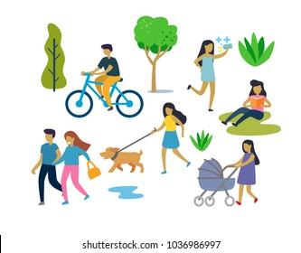 People in Urban park outdoor activities. Vector flat