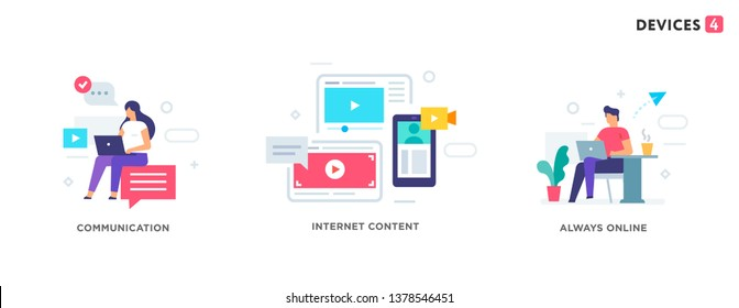 People use gadgets. set of icons, illustration. Smartphones tablets user interface social media.Flat illustration Icons infographics. Landing page site print poster. Eps vector.