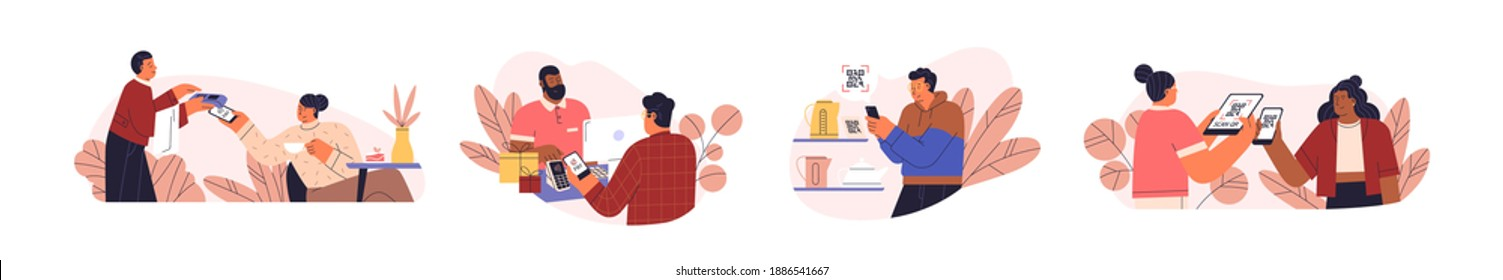 People use mobile cashless payment system or scan qr code vector flat illustration. Characters using digital banking service and application for bonuses accumulation isolated on white. Contactless pay