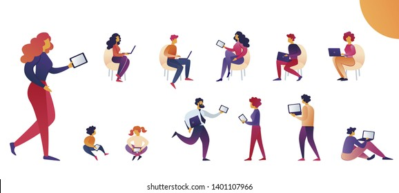 People use Tablets and Laptops Cartoon Vector. Woman Casual Wear Carries Tablet. Men, Women and Children Regularly use Portable Digital Devices. Vector Illustration on White Background.